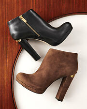 Michael Kors MK HAVEN Cognac Brown Ankle Bootie Boots Shoes Heels Multi Size NIB