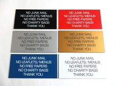 Engraved Plaque/Sign 100x50 No Junk Mail/Leaflets/Menus/Free Papers/Charity Bags