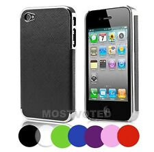Premium Elegant Leather Chrome Hard Case Cover Skin For Apple iPhone 4S 4