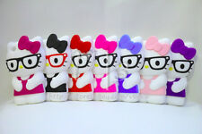 3D HELLO KITTY Nerd wit Glasses Silicone Rubberized Gel Case Cover for iPhone 5C