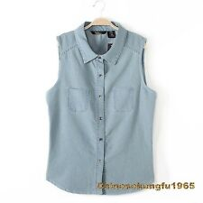Women Plus Size Frayed Denim Jeans Blouse Tops Lace Vest Button Sleeveless New
