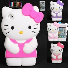 For Apple IPod Touch 4 T4 Soft Silicone 3D Hello Kitty case cover + Free Gift