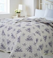 Catherine Lansfield Toile Blue Reversible bedspread