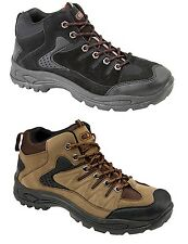 New Mens Hiking Trail Rambling Walking Boots Shoe Lace Up Black Khaki Nubuck