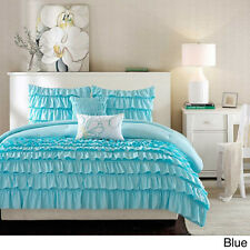 BEAUTIFUL 5PC TEAL SOFT BABY BLUE MODERN GIRL TEEN RUFFLE TEXTURE COMFORTER SET