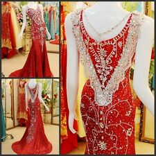 Luxury Red Mermaid Formal Evening Dress Wedding Cocktail Party Pageant Dresses