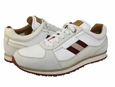 Bally Mens Okar Off White Leather Casual Lace-Up Fashion Sneakers Shoes Kicks