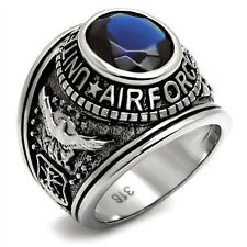 Mens Simulated Blue Sapphire CZ US Air Force Military 316 Stainless Steel Ring
