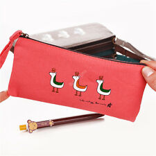 New Stationery Animal Canvas Pencil Pen Case Cosmetic Makeup Bag Pouch 0856