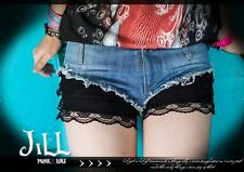 Street Punk rock anthem pussy cat doll layered look mini hot jeans shorts