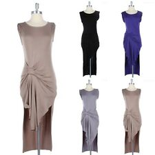 Cap Sleeve Ruched Front Solid Dress Round Neck Side Slits Gorgeous Cotton S M L