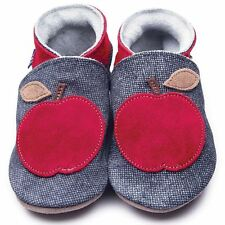 Inch Blue Boys Girls Baby Luxury Leather Soft Sole Pram Shoes - Apple Denim