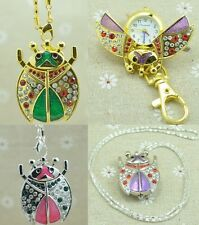 Lovely Women Girl Beetles Ladybug Kids Crystal Necklace Watches With Chain