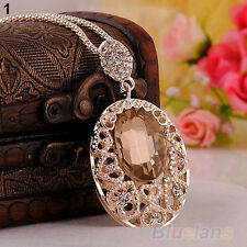 New Chic Rose Gold Plated Crystal Sweater Chain Pendant Rhinestone Necklace B1AU