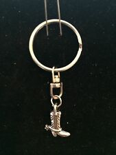 Keychain with Cowboy Cowgirl Boot & Horse Saddle Charm