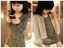 Fashion Baby Kids Girls Clothing Leopard Print Party one-piece Dress Skirt 2-7T