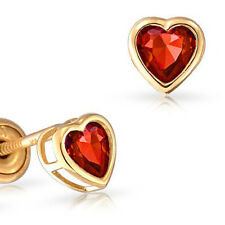 14k Gold Heart Birthstone Stud Gemstone Earrings with Secure Screwback Safety