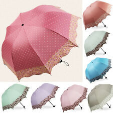 Windproof Super Anti UV Sun Rain Umbrella Floding Lacework Princess Parasol