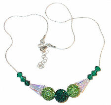 2-Tone GREEN Crystal Necklace Sterling Silver Disco Ball Swarovski Elements