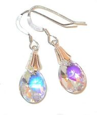 CLEAR AB Earrings 12mm Mini-Pear Dangle Sterling Silver Swarovski Elements