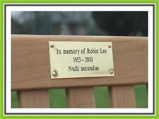 "8 x 2"" ENGRAVED POLISHED BRASS BENCH PET MEMORIAL PLAQUE SIGN"