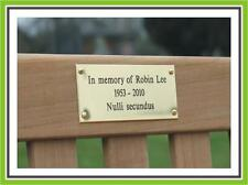 "4 x 2.5"" ENGRAVED POLISHED BRASS BENCH PET MEMORIAL PLAQUE SIGN"