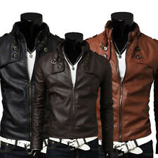 Casual Men Clothing Slim Fit Sexy Style High Collar PU Leather Jacket Coat Brown