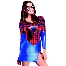 Womens Spider Girl Superhero Costume Marvel Comic Hero Dress Party Outfit & Mask