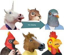 Creepy Costume Party Full Head Rubber Unicorn  Horse mask Mythology Fancy Prop