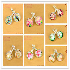 1Pair Life Tree Lucky Eye Flower Glass Cabochon Photo French Leverback  Earring