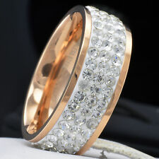 New Eternity Stainless Steel CZ Women Wedding Anniversary Band Ring