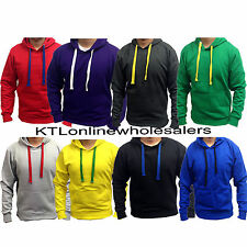 New Mens Plain pullover Fleece Hoodie top Hoody Sweatshirt Size S M L XL