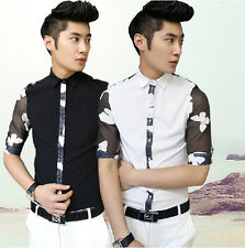 Unique Fashion Mens Korean Style Lace Stitching Floral Slim Fit Casual Shirts