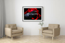 Black Red Crow Bird Rose Flower Home Decor Wall Art Fantasy Matted Picture A590