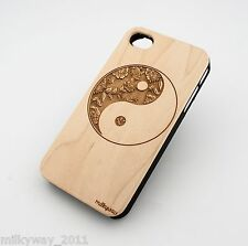 W149 REAL WOOD CASE COVER FOR IPHONE 5 5S FLORAL YIN YANG balance life death ohm