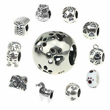 925 sterling silver Charms Beads Fit European Style ANIMALS horse&owl&monkey Y