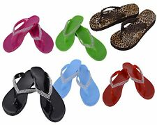 New Womens Color Diamond Stud Jelly Flip Flop Beach Sandals Shoes Summer Flats