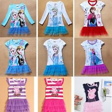 Frozen Elsa Princess Girls Tops Dresses Tutu Short Sleeve Kids Clothing 3-8Y NEW