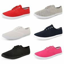 New Womens Lace Up 4 Eyelet Canvas Casual Summer Trainer Pumps Comfort Plimsoles