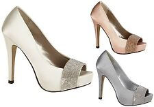 WOMENS EVENING PEEP TOE SANDALS LADIES DIAMANTE WEDDING PROM PARTY SHOES SIZE