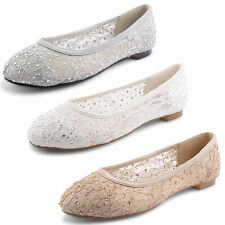 New Ladies Stylish Ballet Flat Ballerinas Pumps Loafer Dolly Lace Shoes Size 3-8
