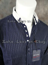 NWT Mens MAX LAUREN Button-Down Shirt Rich Navy Blue with White Dotted Trim