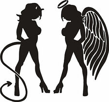 "Sexy Angel and Devil Facing Inward Decal 6""x6"" Various Colors FREE SHIPPING"