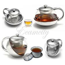 New Stainless Steel Glass Tea Pot TeaPot With Loose Tea Leaf Infuser Strainer