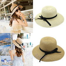 Fashion Women Summer Floppy Elegant Sun Hat Straw Wide Brim Beach Bohemia Cap