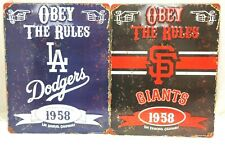 Vintage Style MLB Embossed Obey The Rules Heavy Duty Steel Sign 11.5 x 14.5