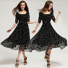 Women's Sexy Long Polka Dot Casual Chiffon Rockabilly Vintage 50's Evening Dress