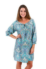 New Spirituelle Eva Long Sleeve Rayon Dress, Teal Paisley, Free Size S to XL