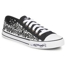 Ed Hardy Devinette Lowrise Black Womens Canvas Trainers Shoes Ladies New in Box