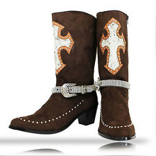 Genuine Hair on Hide Cross Cowboy Boots w/ Rhinestone Straps Cowgirl Boots Brown